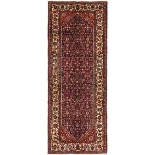 Hand Knotted Hossainabad Semi Antique Wool Runner Rug - 3' 10 x 10' 3