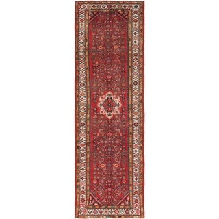 Hand Knotted Hossainabad Semi Antique Wool Runner Rug - 3' 5 x 11'