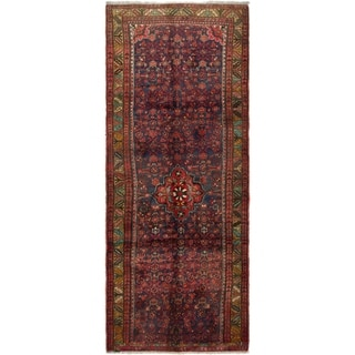 Hand Knotted Hossainabad Semi Antique Wool Runner Rug - 3' 8 x 9' 8