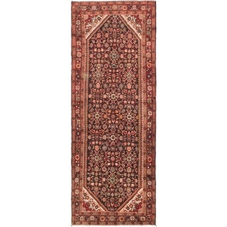 Hand Knotted Hossainabad Semi Antique Wool Runner Rug - 3' 8 x 9' 9