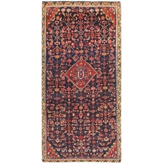 Hand Knotted Hossainabad Semi Antique Wool Runner Rug - 4' 5 x 9' 5