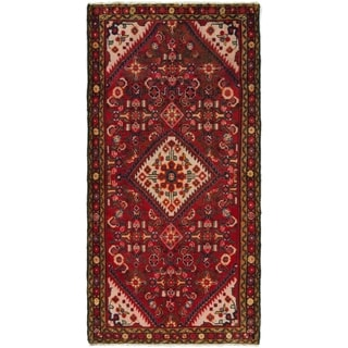 Hand Knotted Hossainabad Semi Antique Wool Runner Rug - 3' 5 x 7'