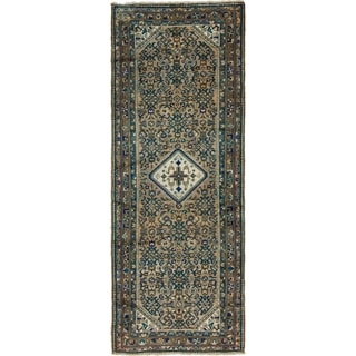 Hand Knotted Hossainabad Semi Antique Wool Runner Rug - 3' 10 x 10'