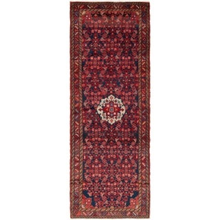 Hand Knotted Hossainabad Semi Antique Wool Runner Rug - 3' 8 x 10' 5