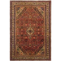 Hand Knotted Hossainabad Semi Antique Wool Area Rug - 6' 8 x 9' 7