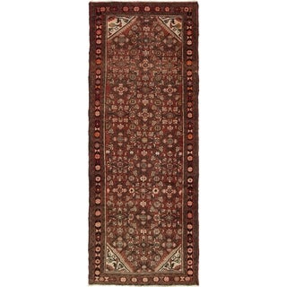 Hand Knotted Hossainabad Semi Antique Wool Runner Rug - 3' 8 x 9' 6