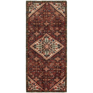 Hand Knotted Hossainabad Semi Antique Wool Runner Rug - 3' 9 x 9' 2