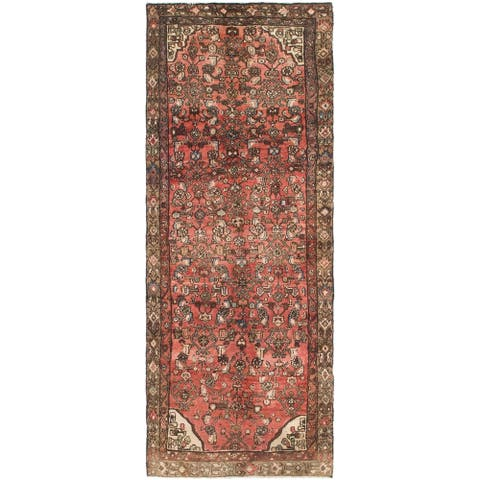 Hand Knotted Hossainabad Semi Antique Wool Runner Rug - 3' 3 x 8' 9