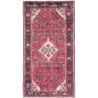 Hand Knotted Hossainabad Semi Antique Wool Area Rug - 5' 2 x 9' 8