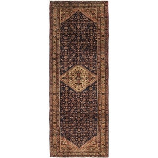 Hand Knotted Hossainabad Wool Runner Rug - 3' 7 x 10' 3