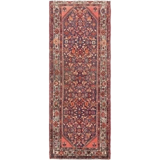 Hand Knotted Hossainabad Semi Antique Wool Runner Rug - 3' 8 x 9' 10