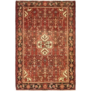 Hand Knotted Hossainabad Semi Antique Wool Area Rug - 4' 4 x 6' 7