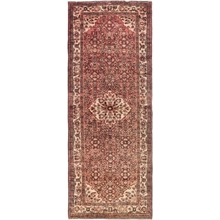 Hand Knotted Hossainabad Semi Antique Wool Runner Rug - 3' 9 x 9' 7
