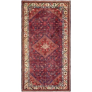 Hand Knotted Hossainabad Semi Antique Wool Area Rug - 5' 5 x 10' 4