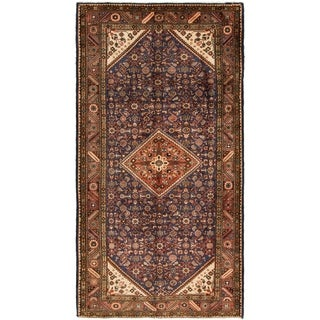 Hand Knotted Hossainabad Semi Antique Wool Area Rug - 5' 3 x 10' 3
