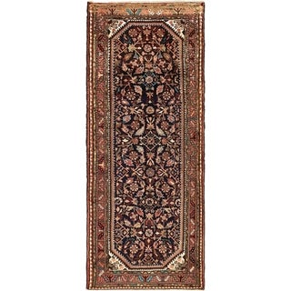 Hand Knotted Hossainabad Semi Antique Wool Runner Rug - 3' 7 x 9' 5