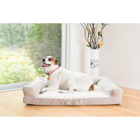 "Armarkat Model D07B Pet Bed with 3.1"" Thick Memory Foam Mattress - Beige and Ivory"