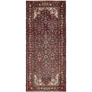 Hand Knotted Hossainabad Semi Antique Wool Runner Rug - 4' x 9' 7