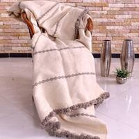 Hand-woven Wool Pom Pom Blankets Off-White With Greige Stripes