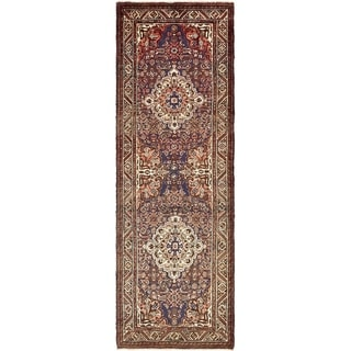 Hand Knotted Hossainabad Semi Antique Wool Runner Rug - 3' 7 x 10' 10