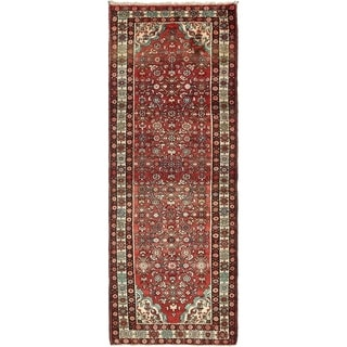 Hand Knotted Hossainabad Semi Antique Wool Runner Rug - 3' 6 x 9' 9