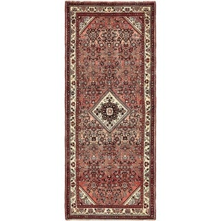 Hand Knotted Hossainabad Semi Antique Wool Runner Rug - 3' 6 x 9'