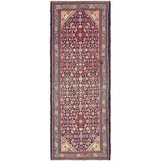 Hand Knotted Hossainabad Semi Antique Wool Runner Rug - 3' 5 x 9' 4