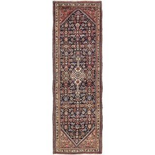 Hand Knotted Hossainabad Semi Antique Wool Runner Rug - 3' x 9' 8