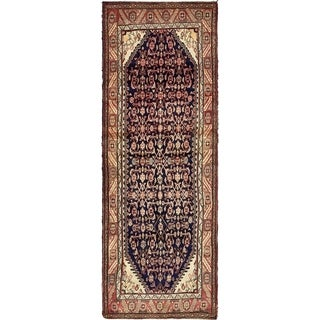 Hand Knotted Hossainabad Semi Antique Wool Runner Rug - 3' 5 x 9' 10
