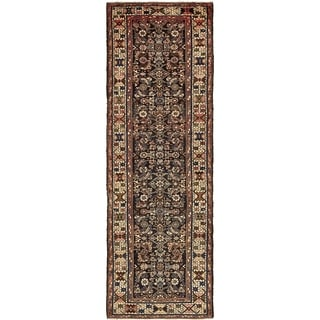 Hand Knotted Hossainabad Semi Antique Wool Runner Rug - 3' 5 x 10' 7