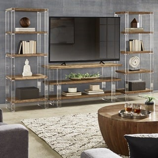 Annika Reclaimed Wood and Acrylic 3-Piece Entertainment Center by iNSPIRE Q Artisan