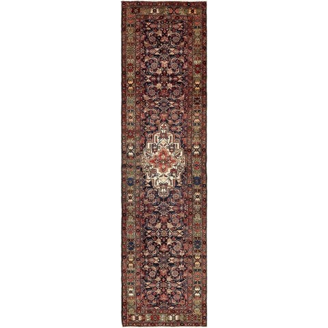 Hand Knotted Hossainabad Wool Runner Rug - 3' 5 x 13' 6
