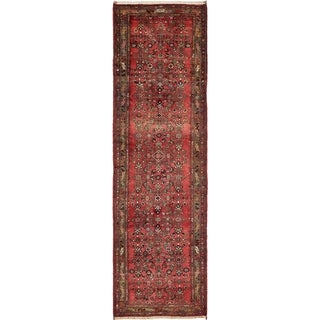 Hand Knotted Hossainabad Semi Antique Wool Runner Rug - 3' 9 x 12' 10