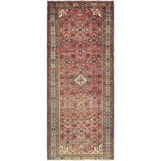 Hand Knotted Hossainabad Semi Antique Wool Runner Rug - 4' x 10' 4
