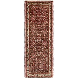 Hand Knotted Hossainabad Semi Antique Wool Runner Rug - 3' 7 x 10'