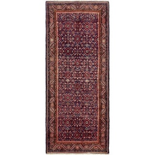 Hand Knotted Hossainabad Semi Antique Wool Runner Rug - 4' x 9' 5