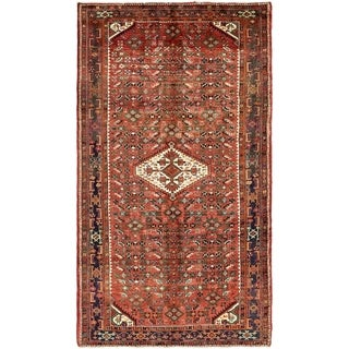 Hand Knotted Hossainabad Semi Antique Wool Area Rug - 5' 5 x 9' 8