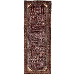 Hand Knotted Hossainabad Semi Antique Wool Runner Rug - 3' 10 x 10' 5