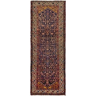 Hand Knotted Hossainabad Semi Antique Wool Runner Rug - 3' 3 x 9'