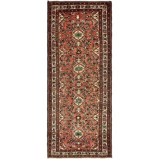 Hand Knotted Hossainabad Semi Antique Wool Runner Rug - 3' 10 x 9' 10