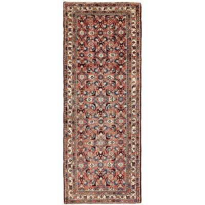 Hand Knotted Hossainabad Semi Antique Wool Runner Rug - 3' 7 x 9' 2