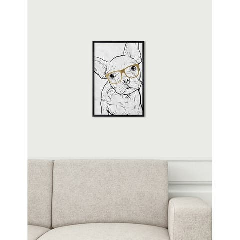 Oliver Gal 'Frenchie with Gold Glasses' Dogs and Puppies Framed Art Print