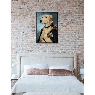 Oliver Gal 'Gentleman Lab' Dogs and Puppies Framed Art Print - Blue