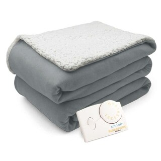 Biddeford Comfort Knit Natural Sherpa Electric Heated Blanket Full Gray