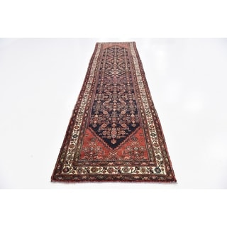 Hand Knotted Hossainabad Semi Antique Wool Runner Rug - 3' 5 x 12' 7