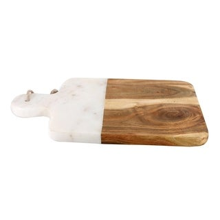 White Marble Stone with Acacia Wood Chopping Board.