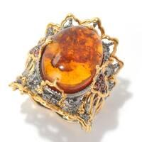 Michael Valitutti Palladium Silver Amber, Orange Sapphire Ring