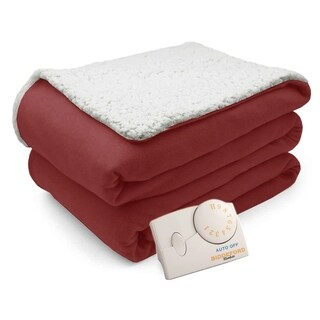 Biddeford Comfort Knit Natural Sherpa Electric Heated Blanket Twin Brick Red