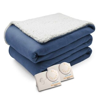 Pure Warmth Comfort Knit Natural Sherpa Electric Heated Blanket King Denim