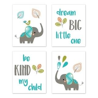 Sweet Jojo Designs Turquoise Gray Green Mod Elephant Collection Wall Decor Art Prints (Set of 4) - Dream Big Be Kind